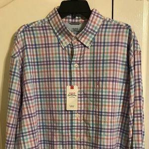 Izod Long Sleeve Oxford Shirt purple plaid XL NWT